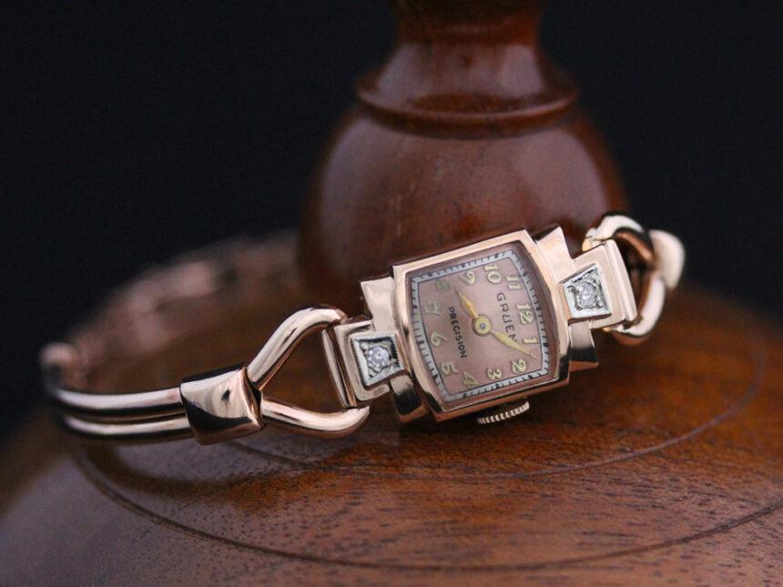 グリュエンの女性用アンティーク腕時計-W1396-5