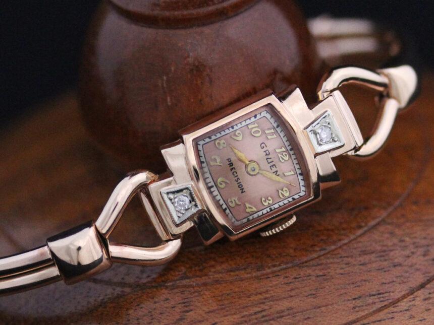 グリュエンの女性用アンティーク腕時計-W1396-6