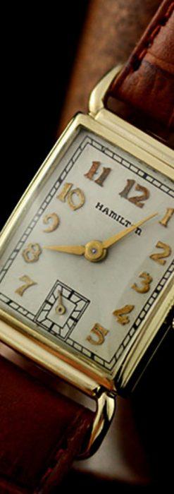 ハミルトン1941年製の縦長のアンティーク腕時計-W1082-1