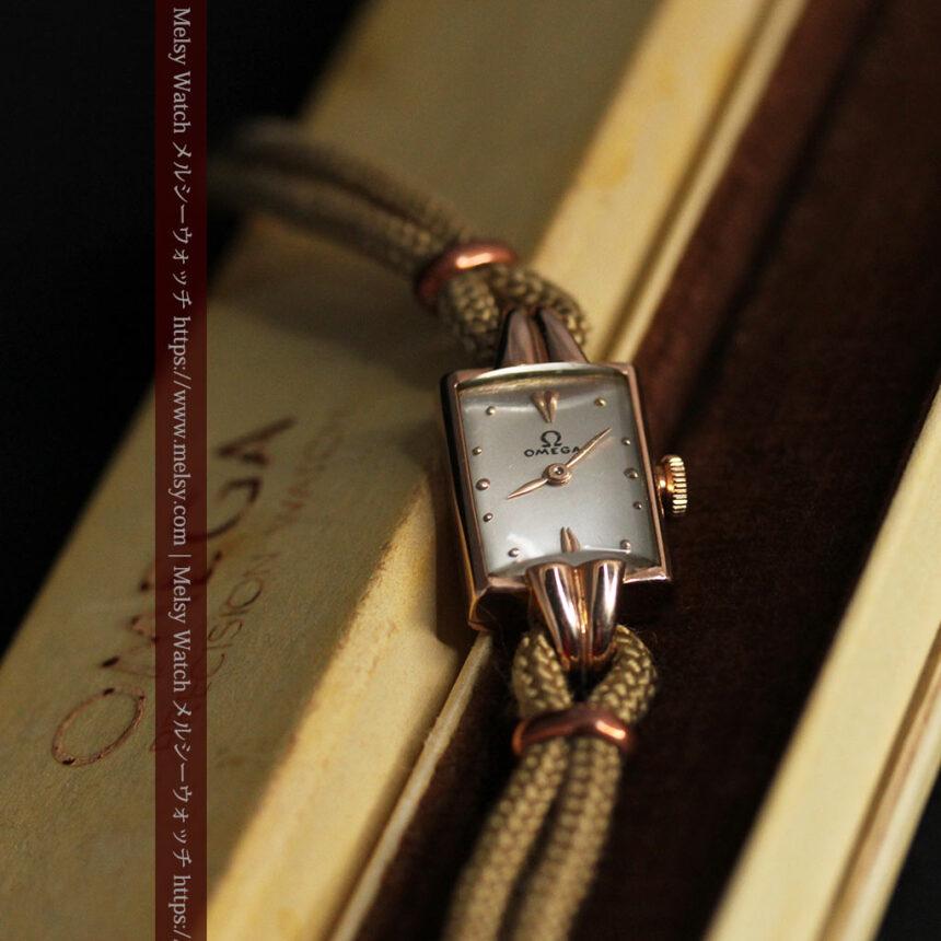 オメガ 金無垢ローズゴールドの女性用アンティーク腕時計 【1946年製】箱付き-W1186-10