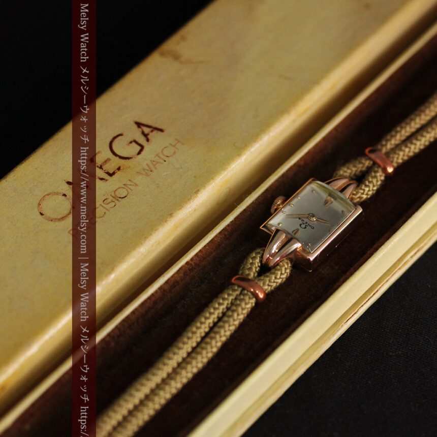 オメガ 金無垢ローズゴールドの女性用アンティーク腕時計 【1946年製】箱付き-W1186-14