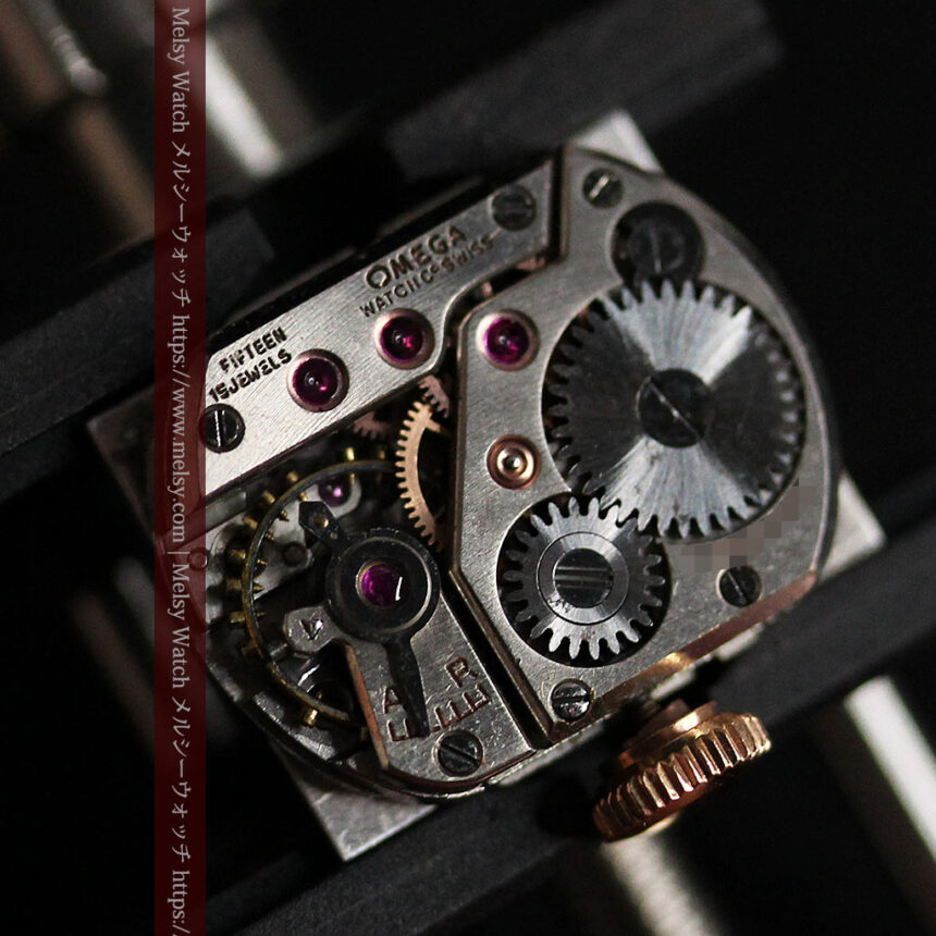 オメガ 金無垢ローズゴールドの女性用アンティーク腕時計 【1946年製】箱付き-W1186-17