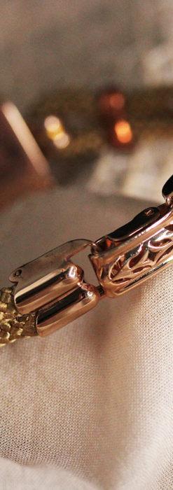オメガ 金無垢ローズゴールドの女性用アンティーク腕時計 【1946年製】箱付き-W1186-19