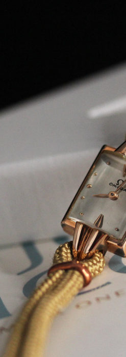 オメガ 金無垢ローズゴールドの女性用アンティーク腕時計 【1946年製】箱付き-W1186-2