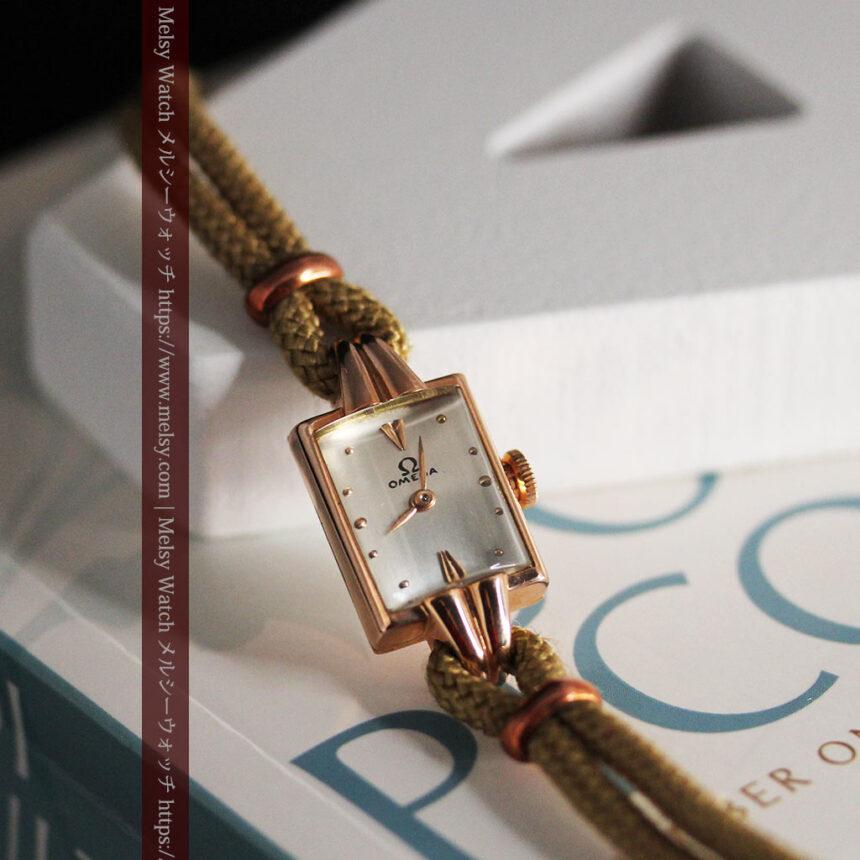 オメガ 金無垢ローズゴールドの女性用アンティーク腕時計 【1946年製】箱付き-W1186-4