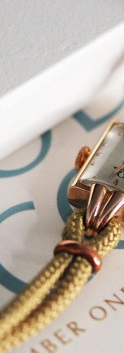 オメガ 金無垢ローズゴールドの女性用アンティーク腕時計 【1946年製】箱付き-W1186-5