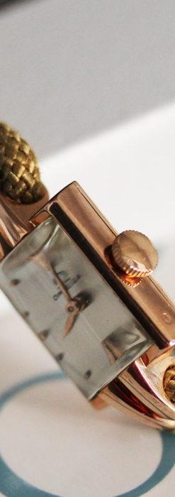オメガ 金無垢ローズゴールドの女性用アンティーク腕時計 【1946年製】箱付き-W1186-6