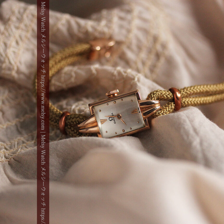 オメガ 金無垢ローズゴールドの女性用アンティーク腕時計 【1946年製】箱付き-W1186-8