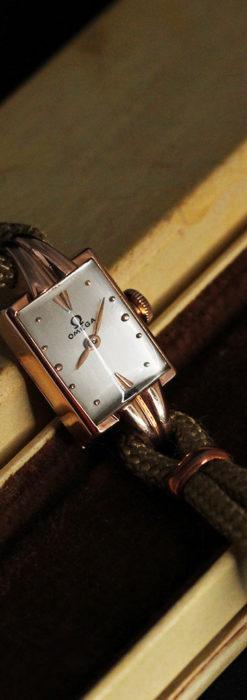 オメガ 金無垢ローズゴールドの女性用アンティーク腕時計 【1946年製】箱付き-W1186-9