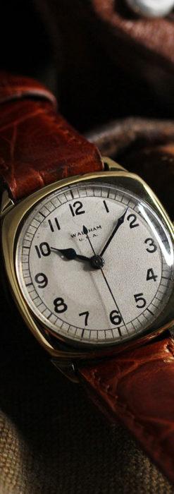 英国ウォルサム クッション型の金無垢アンティーク腕時計 【1946年頃】-W1214-2