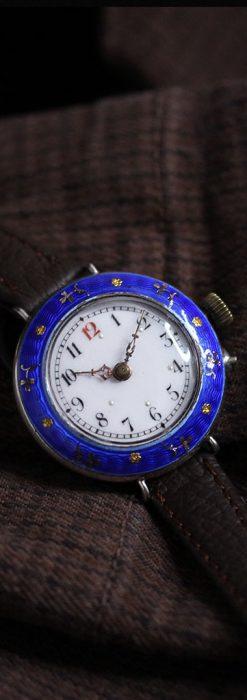 青いエナメル装飾の銀無垢アンティーク腕時計-W1441-1