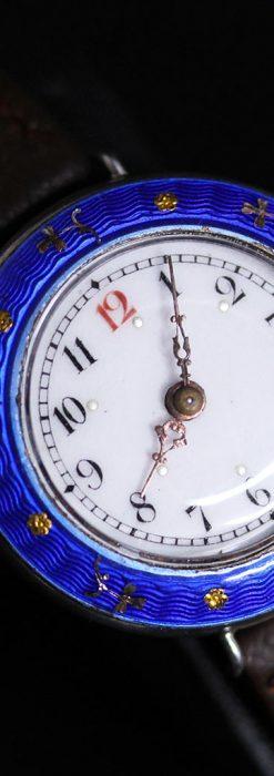 青いエナメル装飾の銀無垢アンティーク腕時計-W1441-10