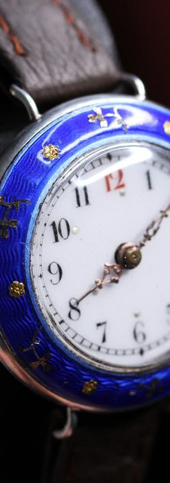 青いエナメル装飾の銀無垢アンティーク腕時計-W1441-11
