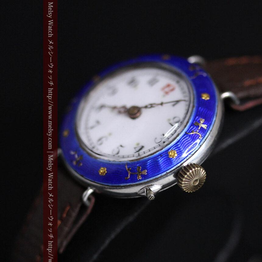 青いエナメル装飾の銀無垢アンティーク腕時計-W1441-12