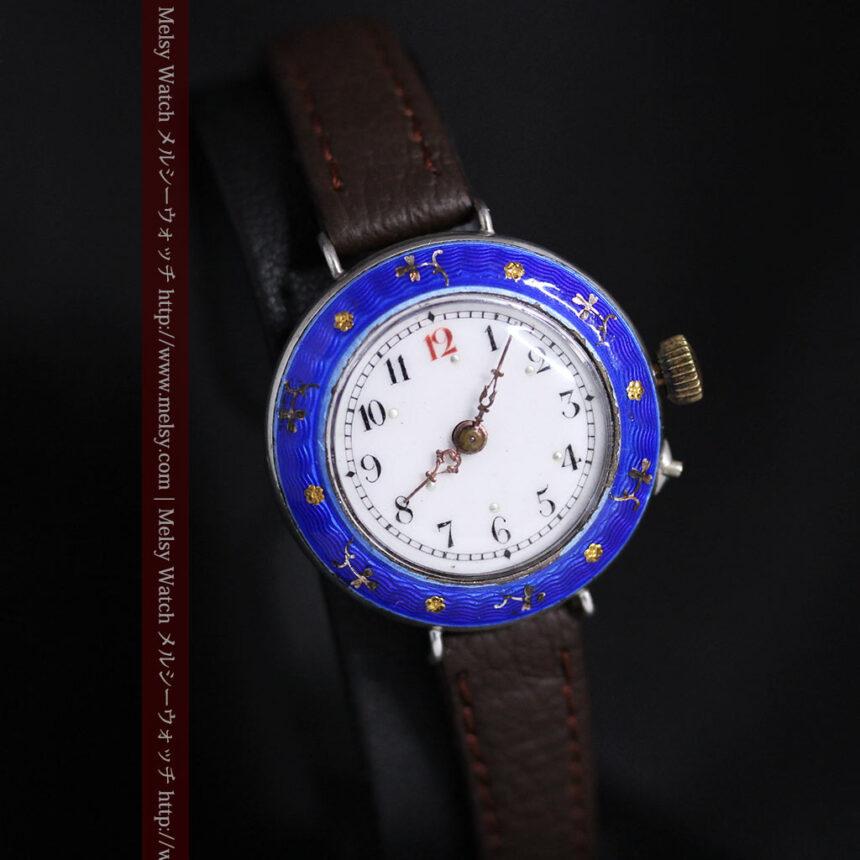 青いエナメル装飾の銀無垢アンティーク腕時計-W1441-13