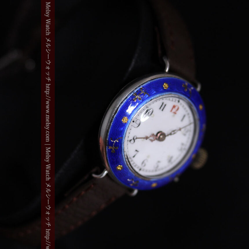 青いエナメル装飾の銀無垢アンティーク腕時計-W1441-14