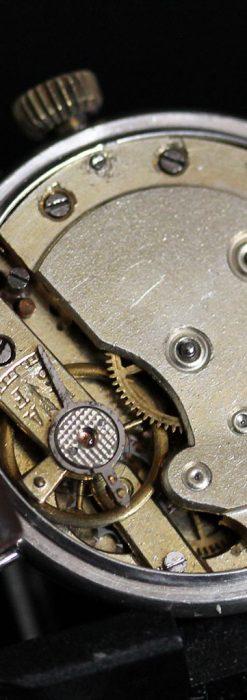 青いエナメル装飾の銀無垢アンティーク腕時計-W1441-17