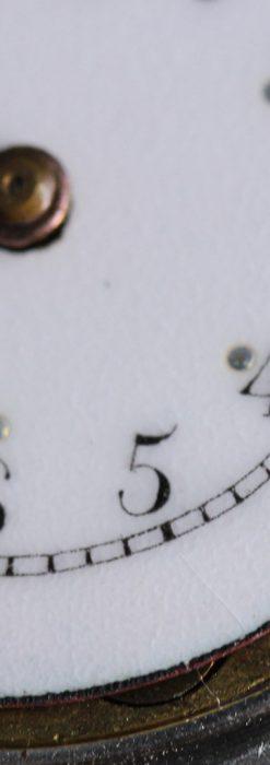 青いエナメル装飾の銀無垢アンティーク腕時計-W1441-18