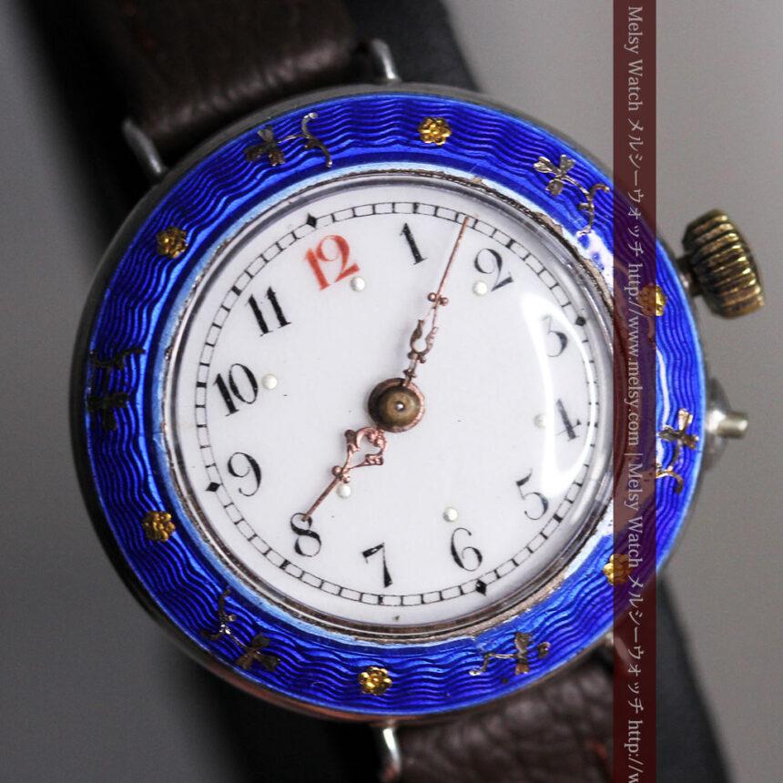 青いエナメル装飾の銀無垢アンティーク腕時計-W1441-3