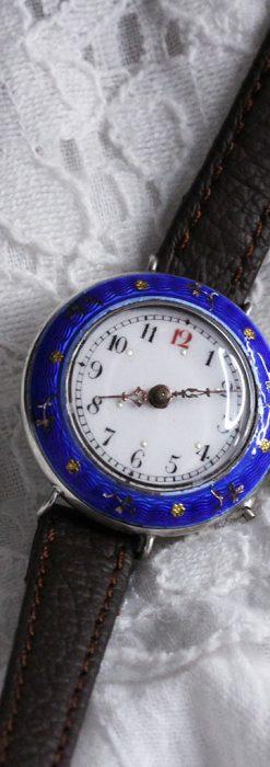 青いエナメル装飾の銀無垢アンティーク腕時計-W1441-4