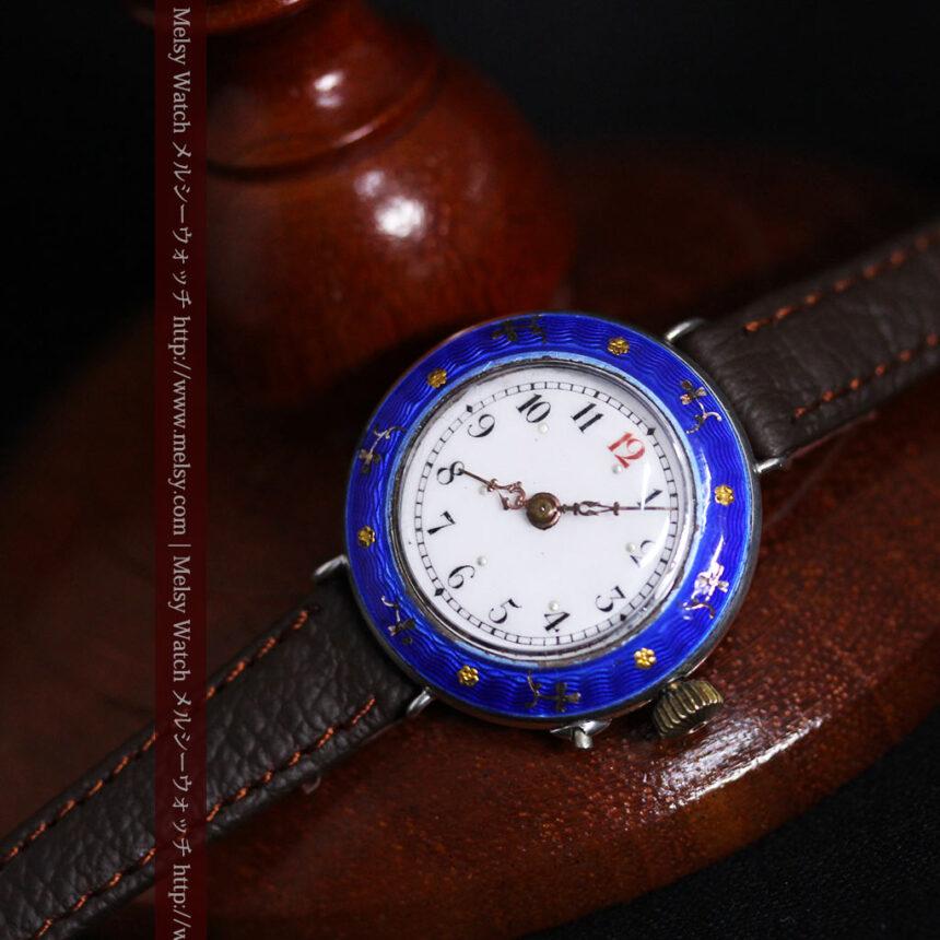 青いエナメル装飾の銀無垢アンティーク腕時計-W1441-6