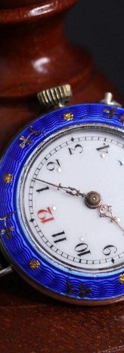 青いエナメル装飾の銀無垢アンティーク腕時計-W1441-7