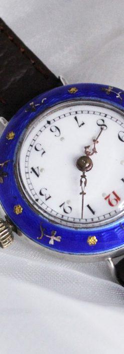 青いエナメル装飾の銀無垢アンティーク腕時計-W1441-8