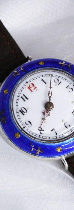 青いエナメル装飾の銀無垢アンティーク腕時計-W1441-9