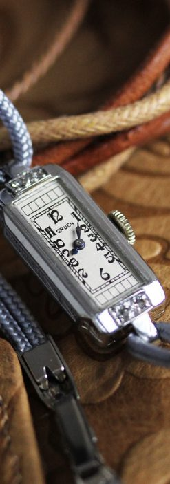 細長いグリュエンの女性用アンティーク腕時計-W1442-1