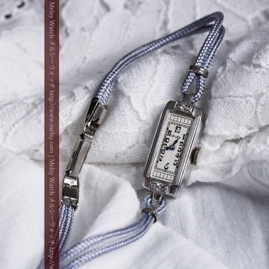 細長いグリュエンの女性用アンティーク腕時計-W1442-3