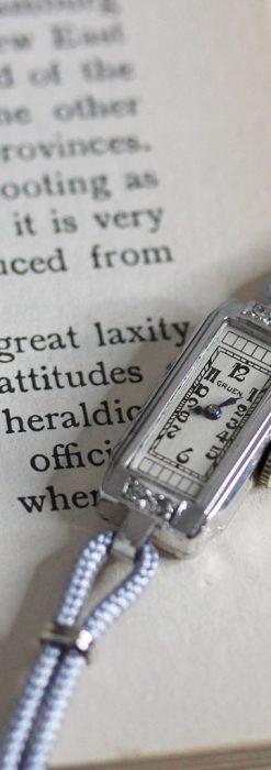細長いグリュエンの女性用アンティーク腕時計-W1442-5