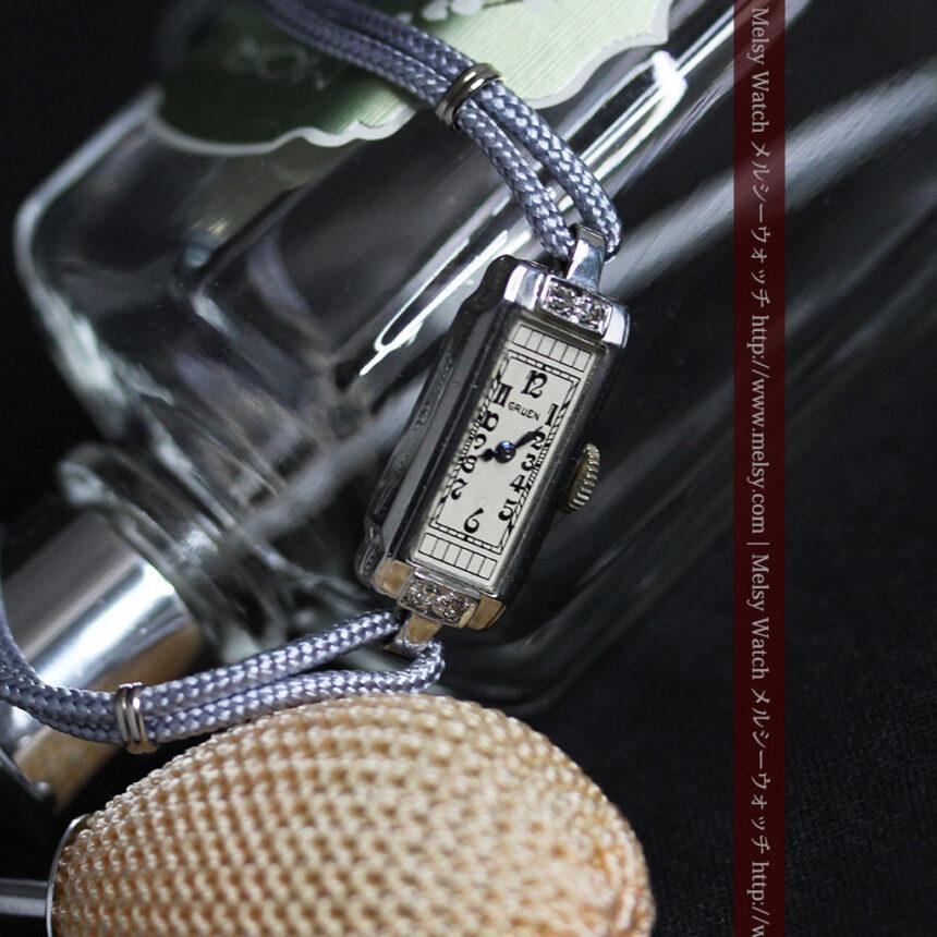 細長いグリュエンの女性用アンティーク腕時計-W1442-6