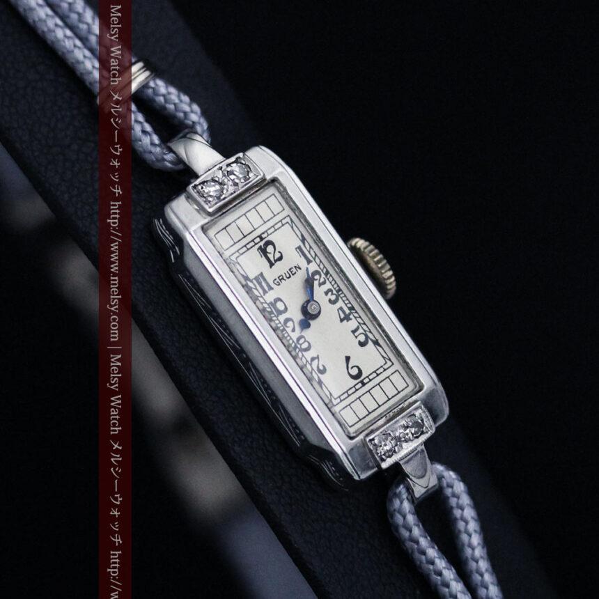 細長いグリュエンの女性用アンティーク腕時計-W1442-8