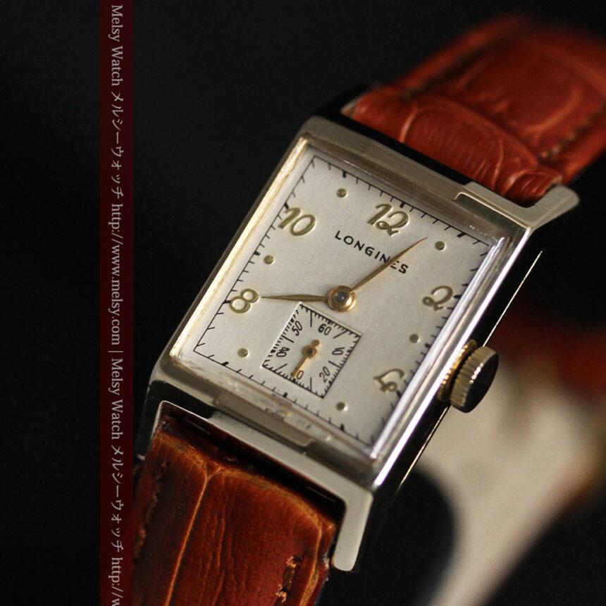 ロンジン1950年製の長方形のアンティーク腕時計-W1446-10