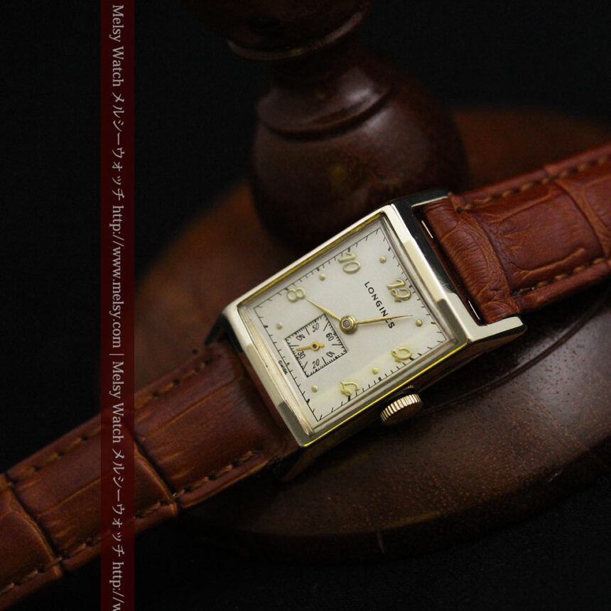 ロンジン1950年製の長方形のアンティーク腕時計-W1446-12
