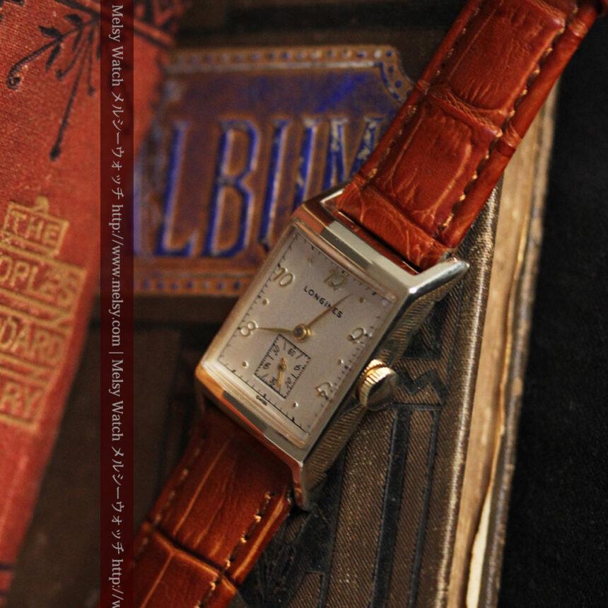ロンジン1950年製の長方形のアンティーク腕時計-W1446-5