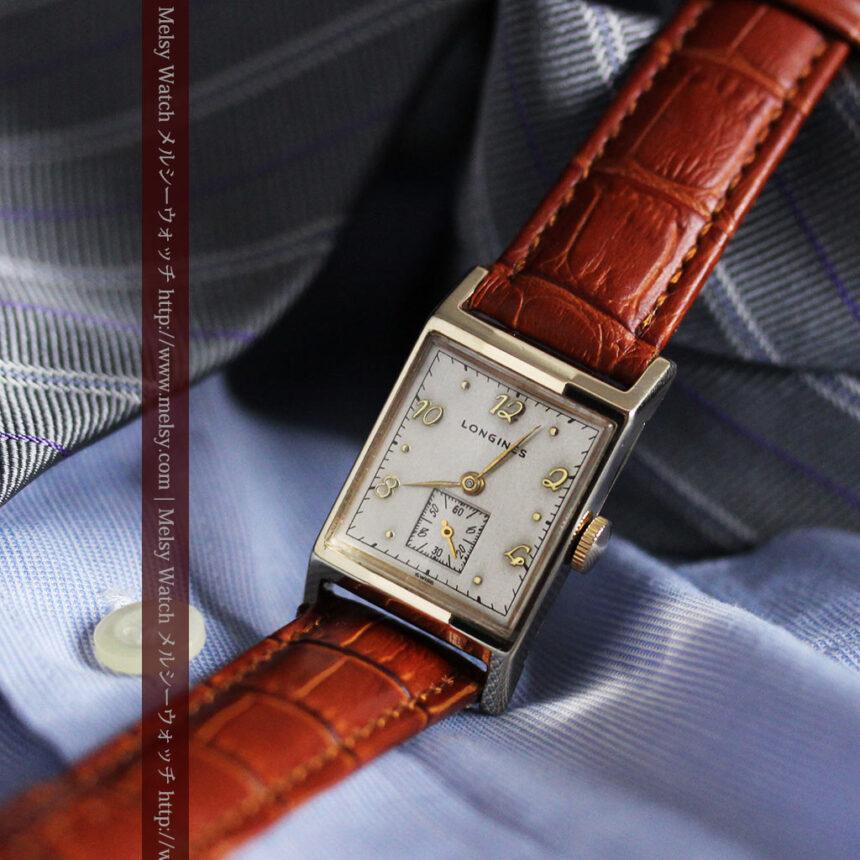 ロンジン1950年製の長方形のアンティーク腕時計-W1446-6