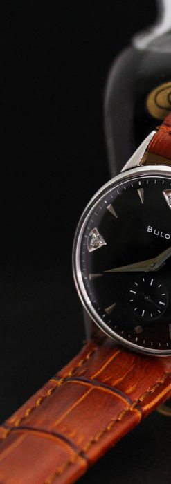黒文字盤のブローバのアンティーク腕時計-W1447-1