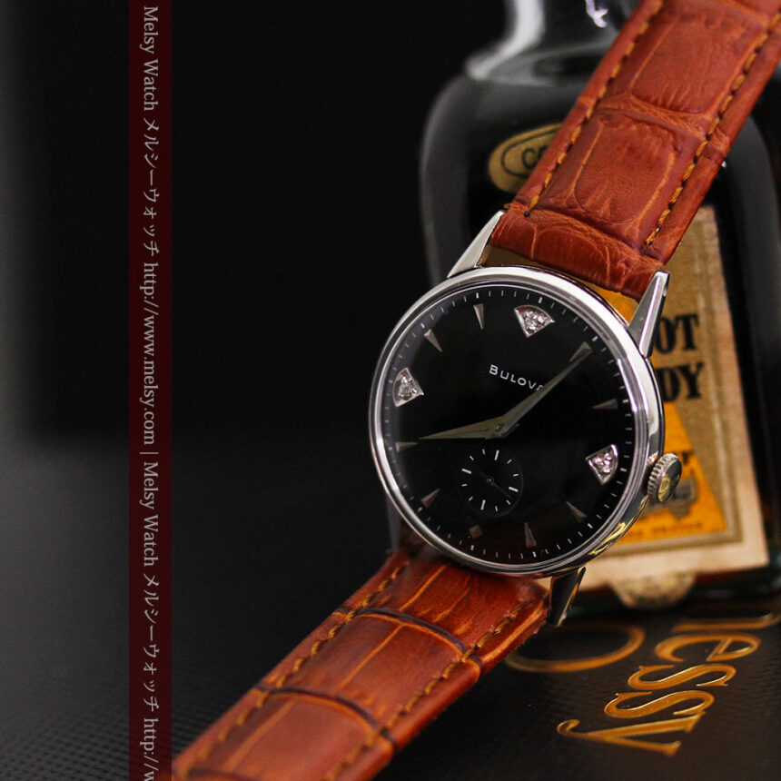黒にダイヤモンドの映えるブローバの1954年製のアンティーク腕時計-W1447-1