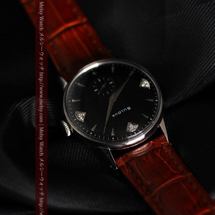黒にダイヤモンドの映えるブローバの1954年製のアンティーク腕時計-W1447-12