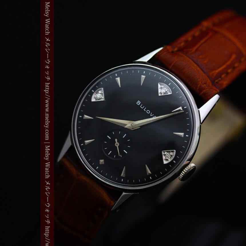 黒にダイヤモンドの映えるブローバの1954年製のアンティーク腕時計-W1447-13