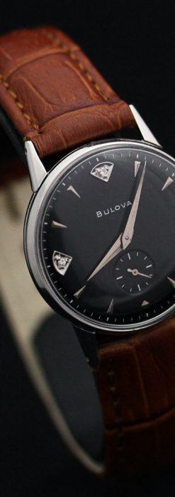 黒にダイヤモンドの映えるブローバの1954年製のアンティーク腕時計-W1447-14