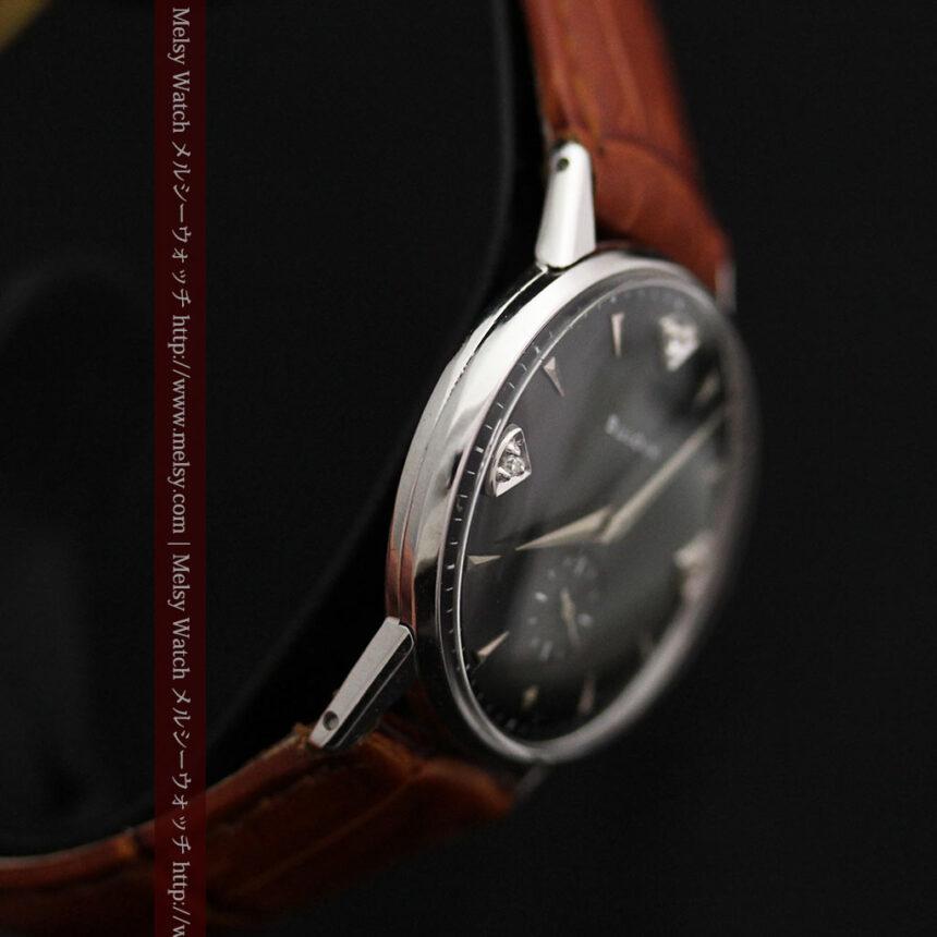 黒にダイヤモンドの映えるブローバの1954年製のアンティーク腕時計-W1447-15