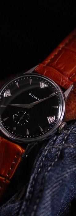 黒にダイヤモンドの映えるブローバの1954年製のアンティーク腕時計-W1447-2