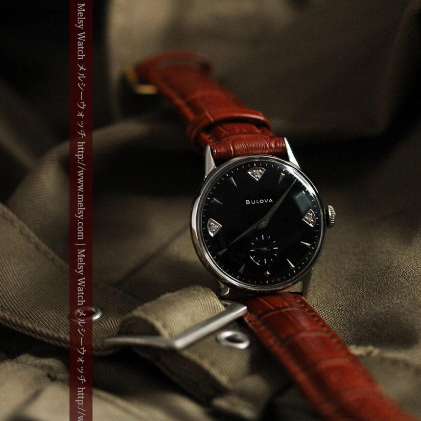 黒にダイヤモンドの映えるブローバの1954年製のアンティーク腕時計-W1447-3