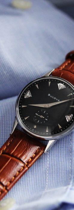 黒にダイヤモンドの映えるブローバの1954年製のアンティーク腕時計-W1447-4