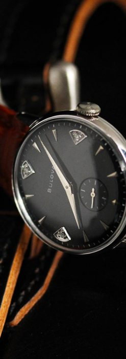 黒にダイヤモンドの映えるブローバの1954年製のアンティーク腕時計-W1447-5
