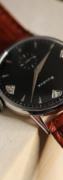 黒にダイヤモンドの映えるブローバの1954年製のアンティーク腕時計-W1447-6