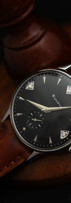 黒にダイヤモンドの映えるブローバの1954年製のアンティーク腕時計-W1447-7
