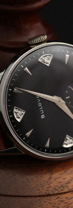 黒にダイヤモンドの映えるブローバの1954年製のアンティーク腕時計-W1447-8